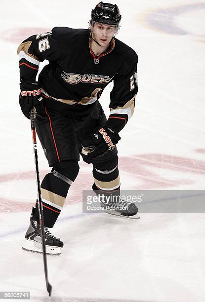 Erik Christensen of the Anaheim Ducks skates on the ice against the San Jose Sharks during Game Four of the Western Conference Quarterfinal Round of...