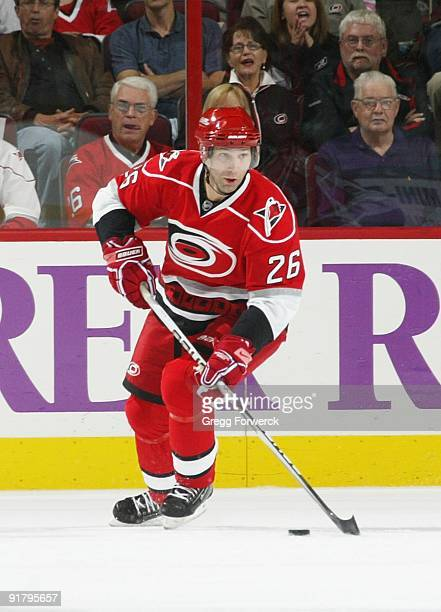 Erik Cole of the Carolina Hurricanes carries the puck during a NHL game against the Philadelphia Flyers on October 2, 2009 at RBC Center in Raleigh,...