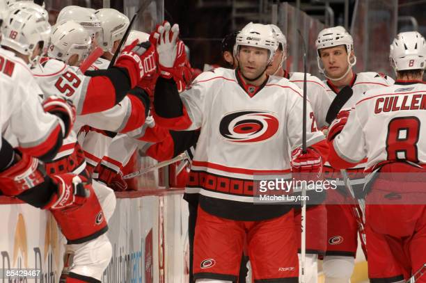 Erik Cole of the Carolina Hurricanes celebrates his teams first goal during a NHL hockey game against the Washington Capitals on March 14, 2009 at...