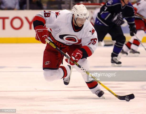 Erik Cole of the Carolina Hurricanes during 3-2 victory over the Los Angeles Kings at the Staples Center in Los Angeles, California on Thursday,...