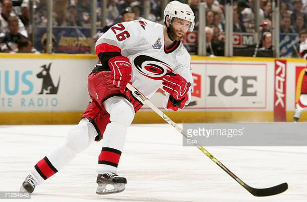 Erik Cole of the Carolina Hurricanes skates against the Edmonton Oilers during game six of the 2006 NHL Stanley Cup Finals on June 17 2006 at Rexall...