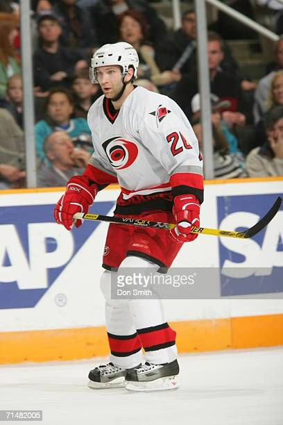 Erik Cole of the Carolina Hurricanes skates during a game against the San Jose Sharks on December 10 2005 at the HP Pavilion in San Jose California...