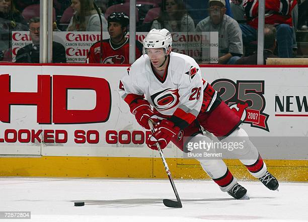 Erik Cole of the Carolina Hurricanes skates during the game against the New Jersey Devils on November 7 2006 at the Continental Airlines Arena in...