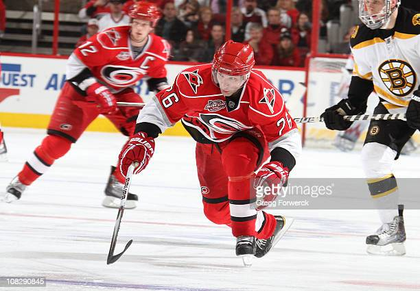 Erik Cole of the Carolina Hurricanes skates for position on the ice during a NHL game against the Boston Bruins on January 18, 2011 at RBC Center in...