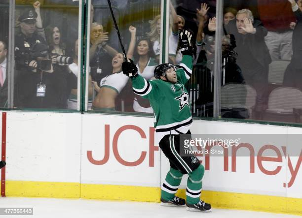 Erik Cole of the Dallas Stars celebrates scoring on Darcy Kuemper of the Minnesota Wild in the third period on March 8, 2014 at American Airlines...