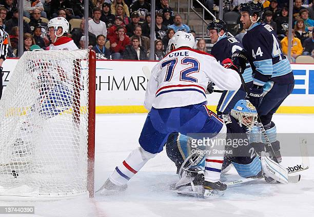Erik Cole of the Montreal Canadiens scores a goal on MarcAndre Fleury of the Pittsburgh Penguins on January 20 2012 at Consol Energy Center in...