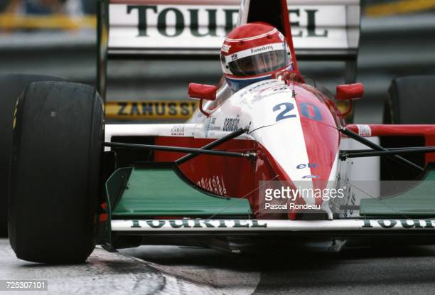 Erik Comas of France drives the Tourtel Larrousse F1 Larrousse LH94 Ford V8 during the Grand Prix of Monaco on 15 May 1994 on the streets of the...