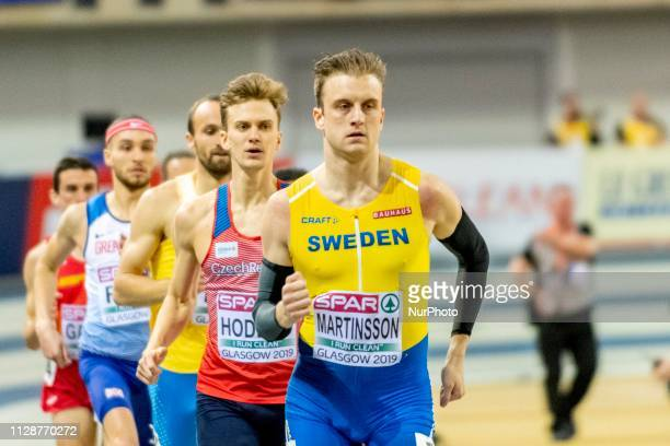 Erik competing in the 800m Men event during day ONE of the European Athletics Indoor Championships 2019 at Emirates Arena in Glasgow Scotland United...
