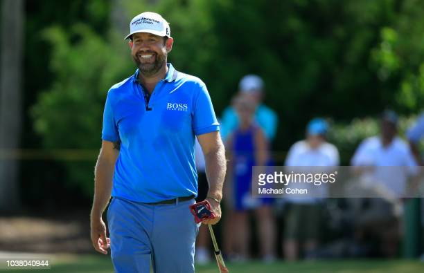 Erik Compton has a laugh on the third green during the third round of the Webcom Tour Championship held at Atlantic Beach Country Club on September...