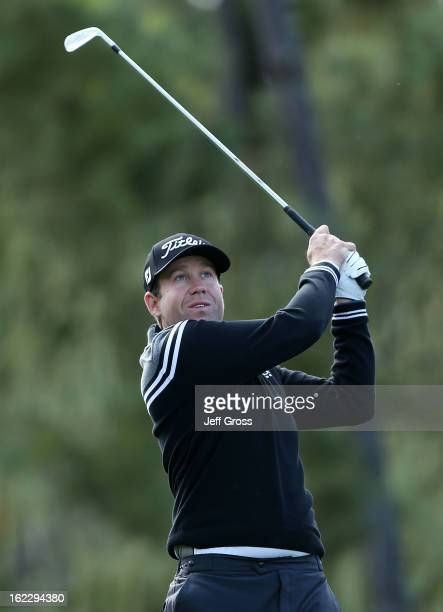 Erik Compton hits a shot during the second round of the ATT Pebble Beach National ProAm at Spyglass Hill on February 8 2013 in Pebble Beach California