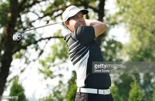 Erik Compton hits his drive on the 14th hole during the final round of the WinCo Foods Portland Open on August 19 2018 in Portland Oregon