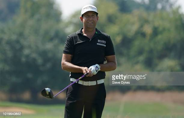 Erik Compton hits his drive on the third hole during the final round of the WinCo Foods Portland Open on August 19 2018 in Portland Oregon