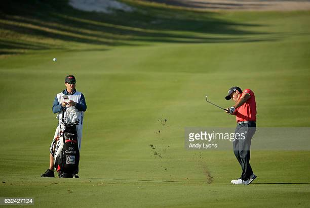 Erik Compton hits his second shot on the11th hole during the first round of The Bahamas Great Abaco Classic at Abaco Club on January 22 2017 in Great...