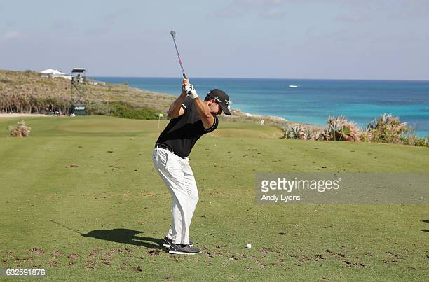 Erik Compton hits his tee shot on the 17th hole during the second round of The Bahamas Great Abaco Classic at the Abaco Club on January 24 2017 in...