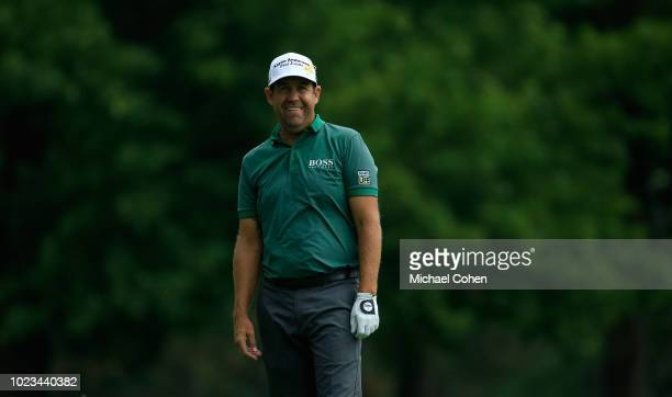 Erik Compton looks on during the third round of the Nationwide Children's Hospital Championship held at The Ohio State University Golf Club on August...