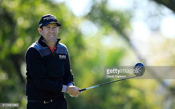 Erik Compton of the United States plays his tee shot at the par 4 14th hole during the second round of the 2016 Honda Classic held on the PGA...