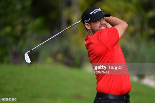 Erik Compton plays his shot from the second tee during the final round of the Webcom Tour's The Bahamas Great Exuma Classic at Sandals Emerald Bay...