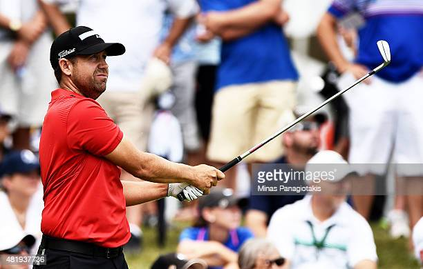 Erik Compton plays his shot from the seventh tee during round three of the RBC Canadian Open at Glen Abbey Golf Club on July 25 2015 in Oakville...