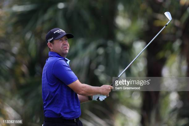 Erik Compton plays his shot from the seventh tee during the first round of the Honda Classic at PGA National Resort and Spa on February 28 2019 in...