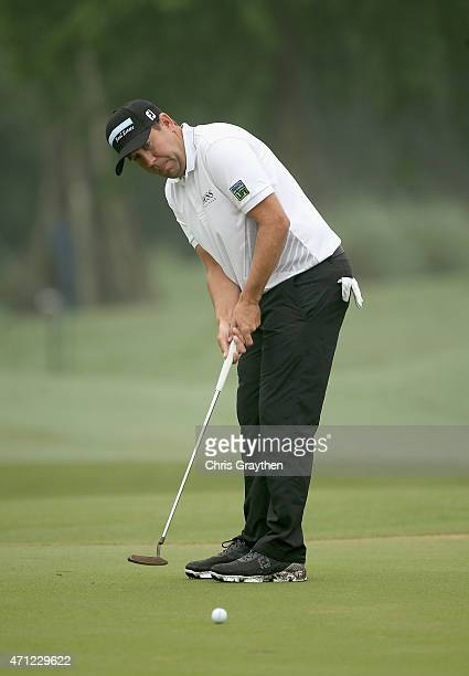 Erik Compton putt son the eighth hole during a continuation of round three of the Zurich Classic of New Orleans at TPC Louisiana on April 26 2015 in...