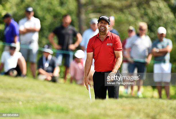 Erik Compton reacts on the tenth hole during round three of the RBC Canadian Open at Glen Abbey Golf Club on July 25 2015 in Oakville Canada