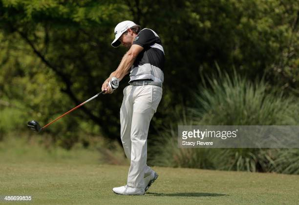 Erik Compton tees off on the 11th during Round Two of the Zurich Classic of New Orleans at TPC Louisiana on April 25 2014 in Avondale Louisiana