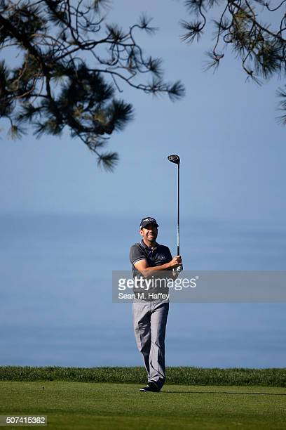 Erik Compton tees off on the 2nd hole during Round 2 of the Farmers Insurance Open at Torrey Pines North on January 29 2016 in San Diego California
