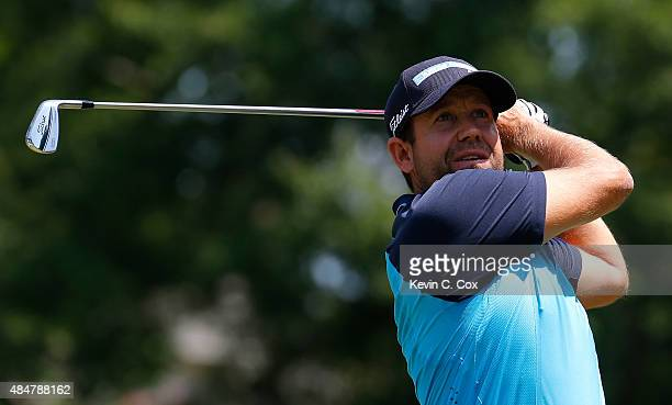 Erik Compton tees off the third hole during the second round of the Wyndham Championship at Sedgefield Country Club on August 21 2015 in Greensboro...