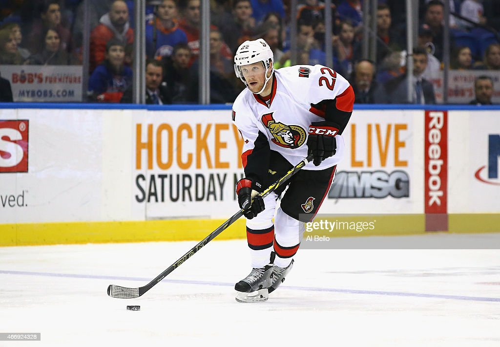 Erik Condra #22 of the Ottawa Senators in action against the New York Islanders during their game at the Nassau Veterans Memorial Coliseum on March 13, 2015 in Uniondale, New York.