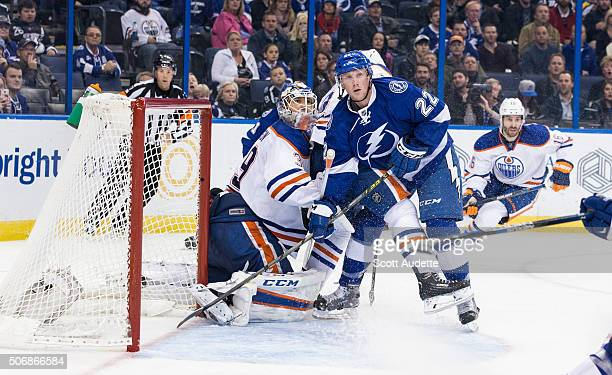 Erik Condra of the Tampa Bay Lightning skates against goalie Anders Nilsson of the Edmonton Oilers during the third period at the Amalie Arena on...