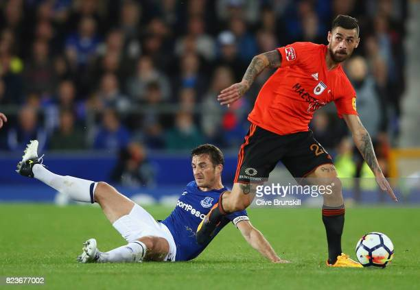 Erik Daniel of MFK Ruzomberok moves away from a grounded Leighton Baines of Everton during the UEFA Europa League Third Qualifying Round First Leg...
