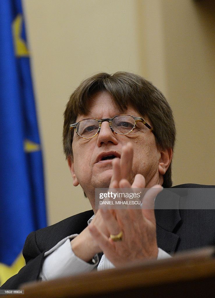 Erik de Vrijer, Chief of the IMF delegation to Romania gestures during a press conference at the Romanian National Bank in Bucharest, January 29, 2013. IMF auditors were in Romania from January 15 to January 29 to discuss the 2013 draft budget and progress on reforms in what will be the first test for Prime Minister Victor Ponta's new centre-left government.