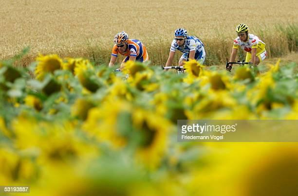 Erik Dekker of Netherlands, Nicolas Portal of France and Rubens Bertogliati of Swizerland during the stage 3 of the 92nd Tour de France between La...