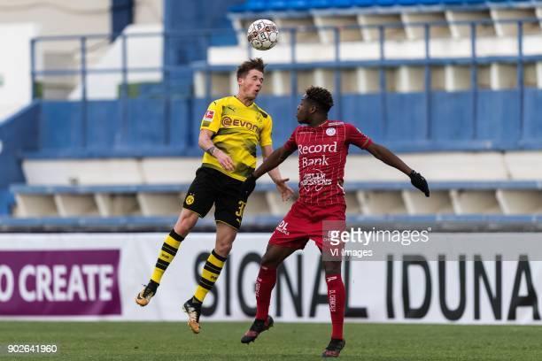 Erik Durm of Borussia Dortmund Aaron Leya Iseka of SV Zulte Waregem during the friendly match between Borussia Dortmund and Zulte Waregem at the...