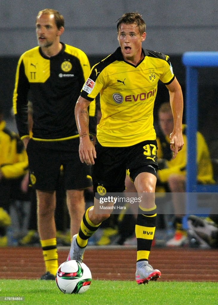 Erik Durm #37 of Borussia Dortmund in action during the preseason friendly match between Kawasaki Frontale and Borussia Dortmund at Todoroki Stadium on July 7, 2015 in Kawasaki, Kanagawa, Japan.