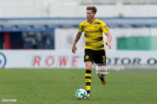 Erik Durm of Dortmund controls the ball during the Friendly match between Borussia Dortmund and SV Zulte Waregem at Estadio Municipal de Marbella on...