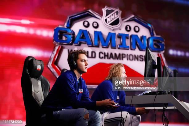 "Erik ""Eki"" Tammenpaa and Hannes ""Hansulinho"" Kettunen during the 2019 NHL Gaming World Championship - European Live Regional Final at Viasat Studio..."