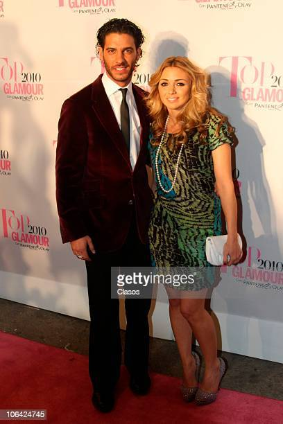 Erik Elias and Karla Guindi arrive for the ceremony of Top Glamour Awards 2010 at Lienzo Charro Constituyentes on October 28 2010 in Mexico City...