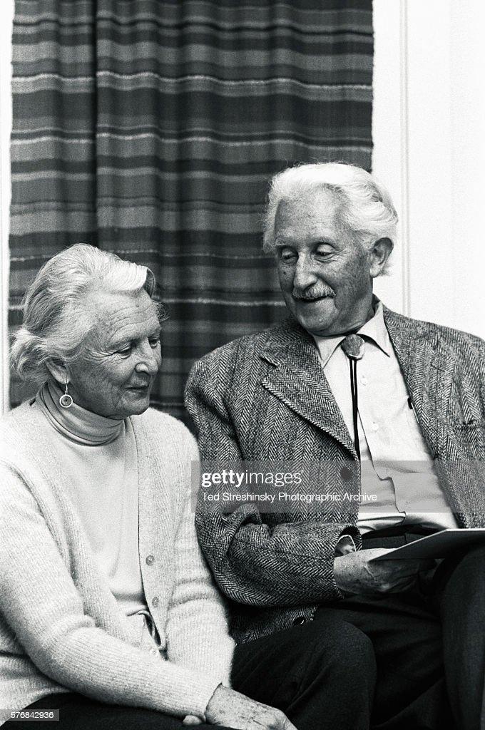 Erik Erikson Sitting With His Wife : News Photo