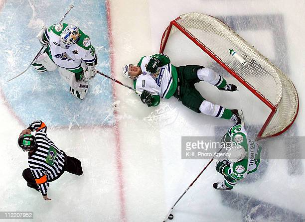 Erik Ersberg Andrei Kuteykin Patrick Thoresen all of the Salavat Yulaev Ufa are seen during Game Four of the 2011 KHL Gagarin Cup Final Series...