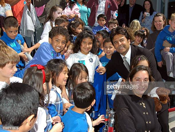 Erik Estrada and daughter Francesca and her class during Erik Estrada Honored with Star on the Hollywood Walk of Fame at 7021 Hollywood Blvd in...