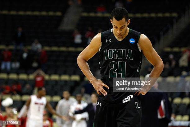 Erik Etherly of the Loyola Greyhounds walks off the court against the Ohio State Buckeyes during the second round of the 2012 NCAA Men's Basketball...