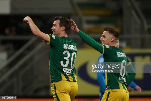 Erik Falkenburg of ADO Den Haag celebrates 1-0 with Donny Gorter of ADO Den Haag during the Dutch Eredivisie match between ADO Den Haag v PEC Zwolle...
