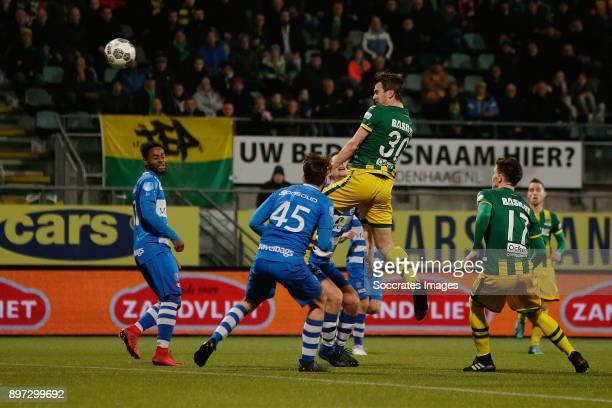 Erik Falkenburg of ADO Den Haag scores the first goal to make it 10 during the Dutch Eredivisie match between ADO Den Haag v PEC Zwolle at the Cars...