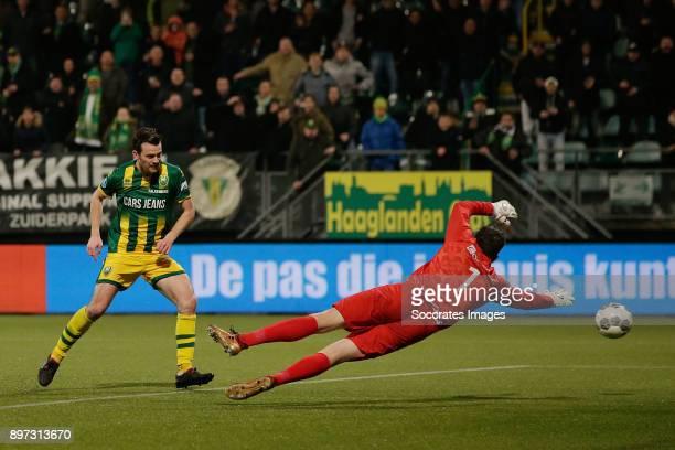 Erik Falkenburg of ADO Den Haag scores the third goal to make it 3-0 during the Dutch Eredivisie match between ADO Den Haag v PEC Zwolle at the Cars...