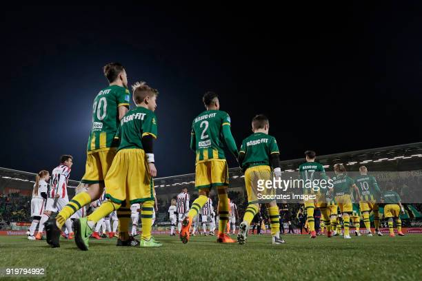 Erik Falkenburg of ADO Den Haag Tyronne Ebuehi of ADO Den Haag during the Dutch Eredivisie match between ADO Den Haag v Willem II at the Cars Jeans...