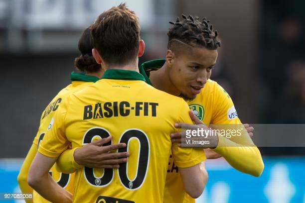 Erik Falkenburg of ADO Den Haag Tyronne Ebuehi of ADO Den Haag during the Dutch Eredivisie match between Sparta Rotterdam and ADO Den Haag at the...