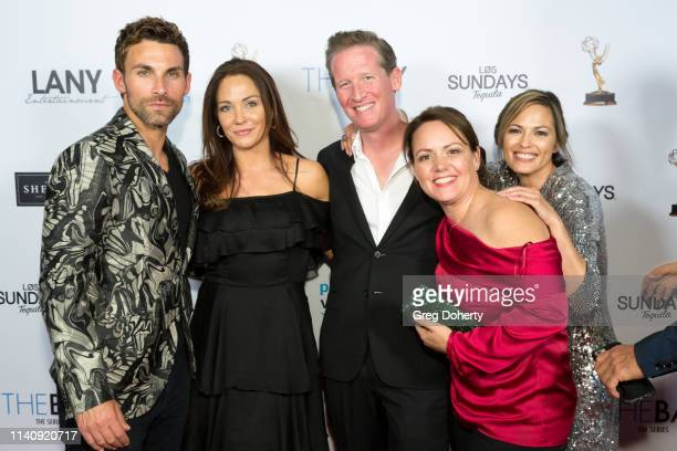 Erik Fellows Jade Harlow Clayton Turnage Susan Savage and Terri Ivens attend The Bay The Series PreEmmy Red Carpet Celebration at The Shelby on May 2...