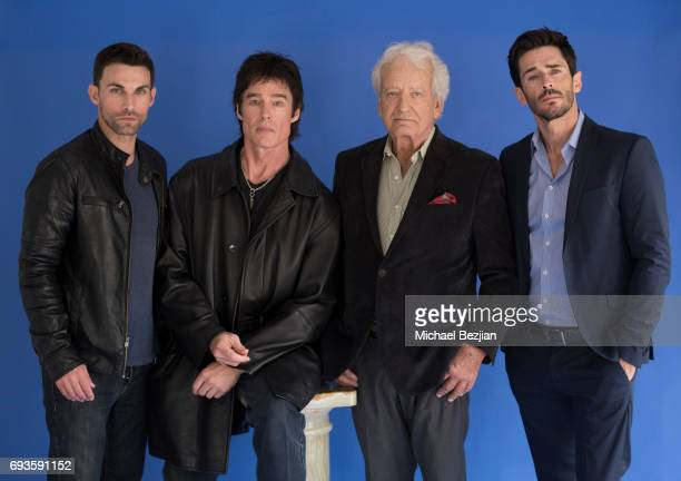 Erik Fellows Ronn Moss Nicolas Coster and Brandon Beemer pose for portrait Cast Members Of The Bay Visit The Artists Project on June 7 2017 in Los...