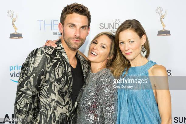 Erik Fellows Terri Ivens and Taylor Stanley attend The Bay The Series PreEmmy Red Carpet Celebration at The Shelby on May 2 2019 in Los Angeles...